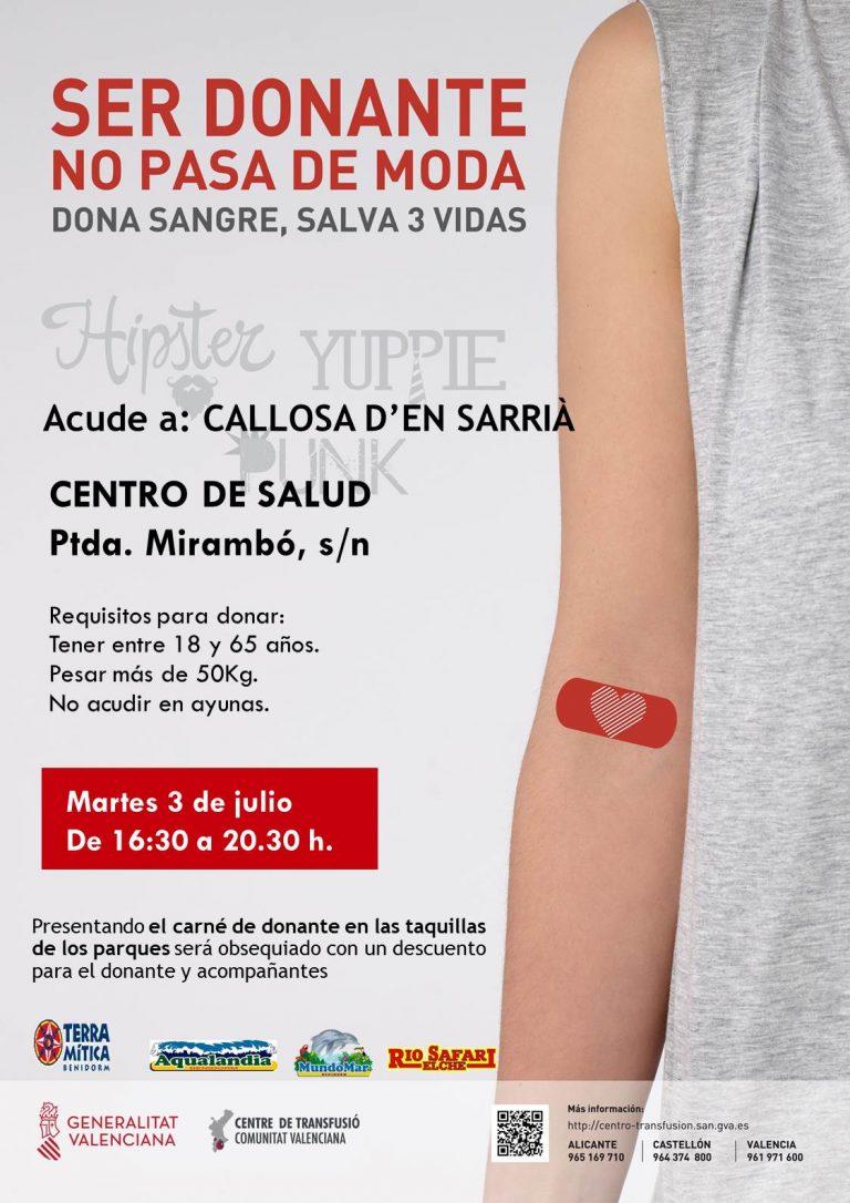 Donación de Sangre el 3 de julio en Callosa d'en Sarrià