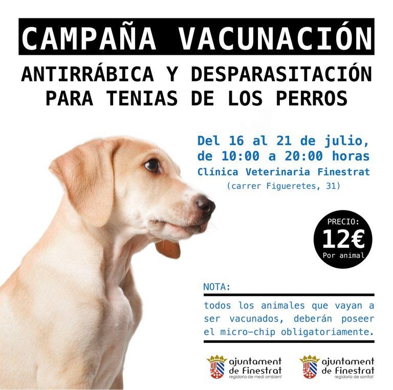 Campaña anual de vacunación antirrábica en Finestrat