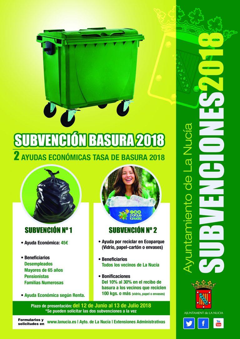 Finaliza el plazo para solicitar la subvención de basura y reciclaje