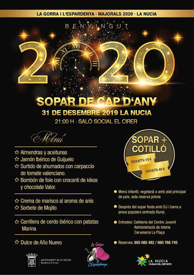Cena de Nochevieja dels Majorals 2020 en el Cirer de La Nucía