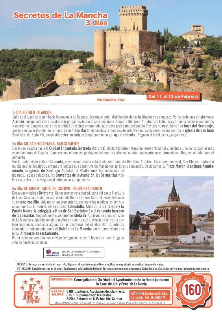 """La Concejalía de la Tercera Edad de La Nucía abre las inscripciones para el viaje a """"La Mancha"""""""