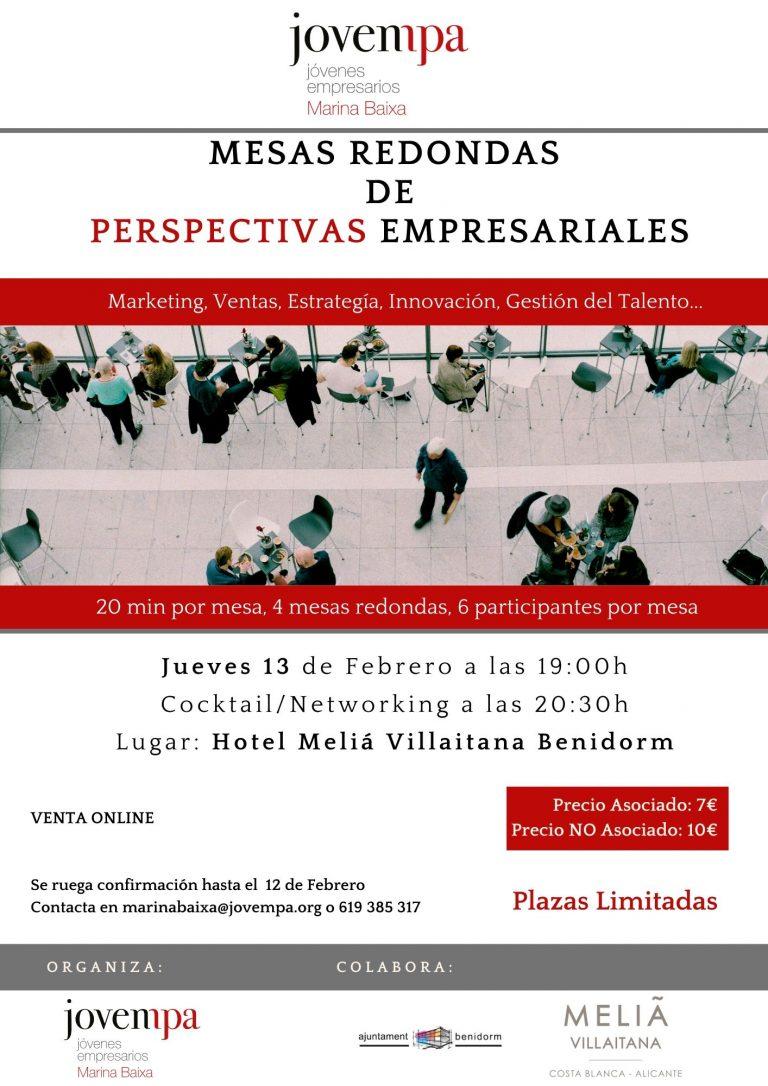Jovempa Marina Baixa presenta la segunda edición de Mesas Redondas de Perspectivas Empresariales