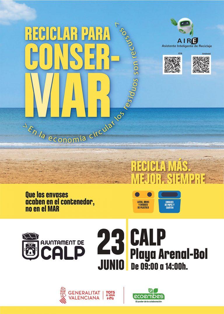 """""""Reciclar para ConserMar"""" llega a Calp de la mano de la Conselleria de Medio Ambiente"""